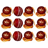 PSE Unisex Leather Practice Cricket Ball- Pack Of 12 Red