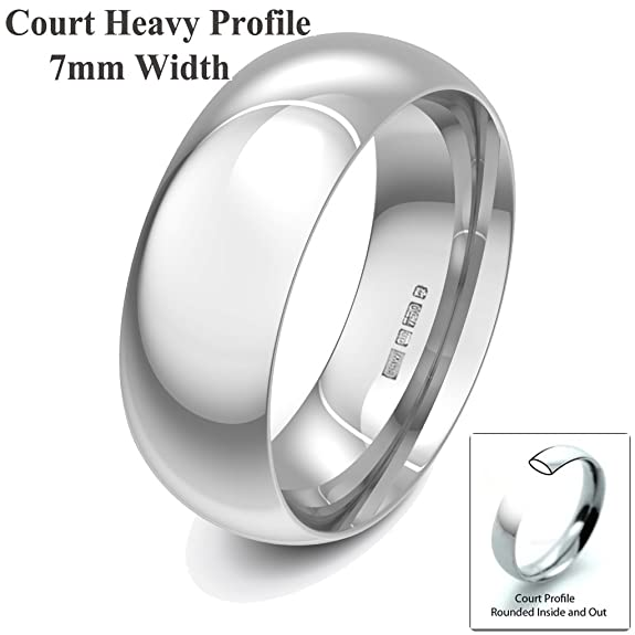 Xzara Jewellery - 18ct White 7mm Heavy Court Profile Hallmarked Ladies/Gents 12.6 Grams Wedding Ring Band