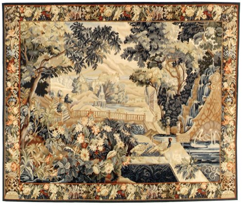 """7'x7' Handmade Chinese """"Tapestry Collection"""" Wool Square Rug"""