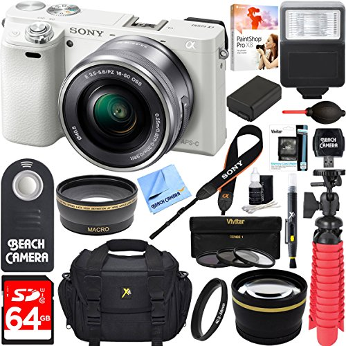 Sony-Alpha-a6000-243MP-Wi-Fi-Mirrorless-Digital-Camera-16-50mm-Lens-Kit-White-64GB-Accessory-Bundle-Photo-Bag-Extra-BatteryWide-Angle-Lens2x-Telephoto-LensFlashRemoteTripod
