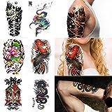 Supperb 6-pack Halloween Temporary Tattoo Skull Tattoo Fish Tattoo 3d mechanical Dragon Tattoo