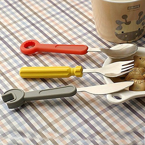 Creative screwdriver wrench kids Cutlery stainless steel Knife fork spoon Set with silicone handles
