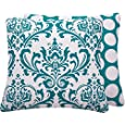Chloe & Olive Turquoise Mist Collection Damask and Dots Decorative Pillow Cover, 20-Inch, Blue