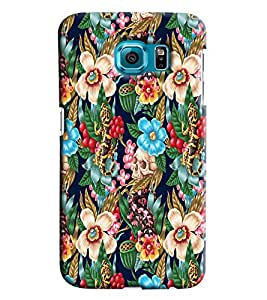 Blue Throat Flower And Skuprinted Designer Back Cover/ Case For Samsung Galaxy S6 Edge Plus