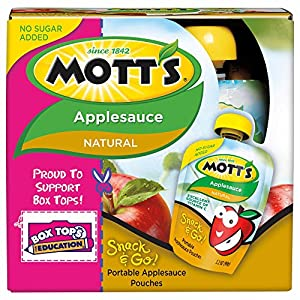 Mott's Snack & Go Applesauce, Natural, 4 Count (Pack of 6)