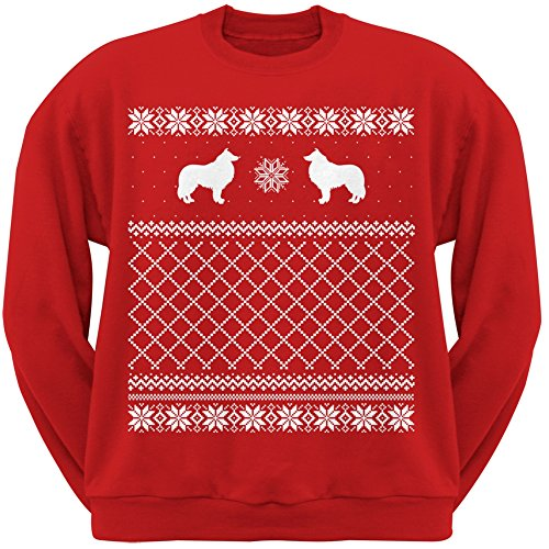 Collie Red Adult Ugly Christmas Sweater Crew Neck Sweatshirt - Medium