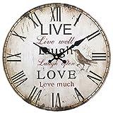 LIVE LAUGH LOVE Alte Wanduhr - Perfekt für Wohnzimmer Schlafzimmer