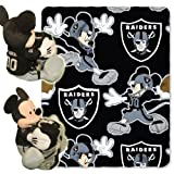 NFL Oakland Raiders Mickey Mouse Pillow with Fleece Throw Blanket Set