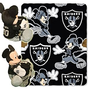 NFL Oakland Raiders Mickey Mouse Pillow with Fleece Throw Blanket Set by Northwest