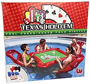 Texas hold 39 em inflatable pool poker set w for Swimming pool poker