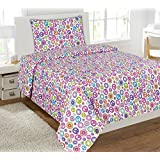 Twin Size Mk Collection 3pc Sheet Set White Pink Purple Teel Green Peace Sign Teens Girls Multi Color New