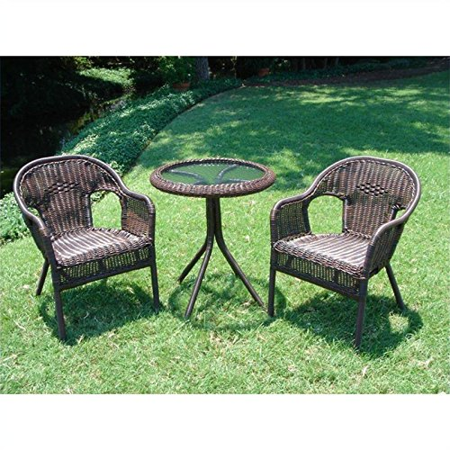 International Caravan Bradford 3 Piece Outdoor Patio Bistro Set - White photo