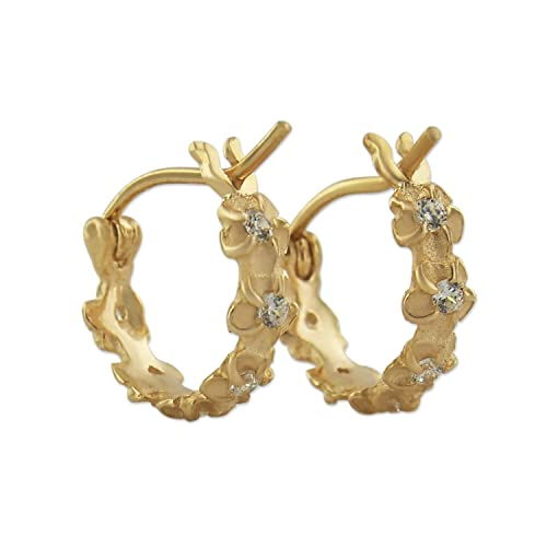 14kt Yellow Gold Plated Sterling Silver Tiny Plumeria Hoop Synthetic CZ Earrings