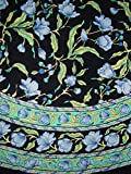 French Floral Tablecoth 70 Inch Round Cotton Blue on Black