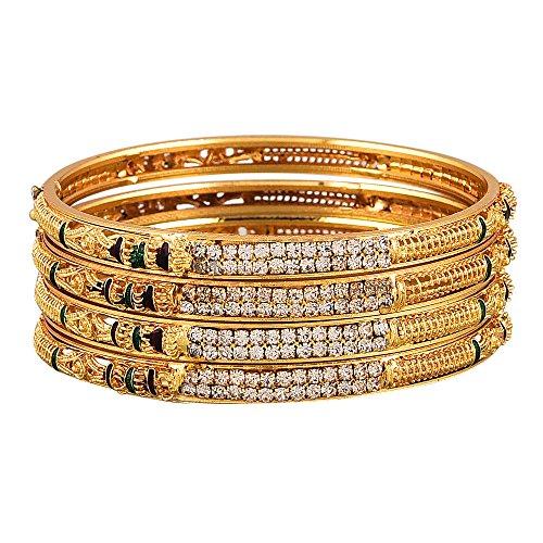 Zeneme Gold Plated Brass Bangles For Women