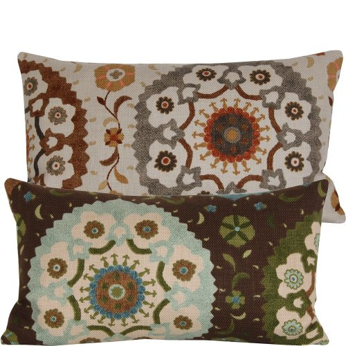 Chloe & Olive Café Ole Collection Floral Lumbar Pillow Cover, 12 by 20-Inch, Brown