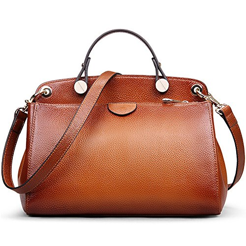AB-Earth-Women-Genuine-Leather-Handbag-Top-handle-Tote-Cross-Body-Shoulder-Messenger-Bag-M803Brown