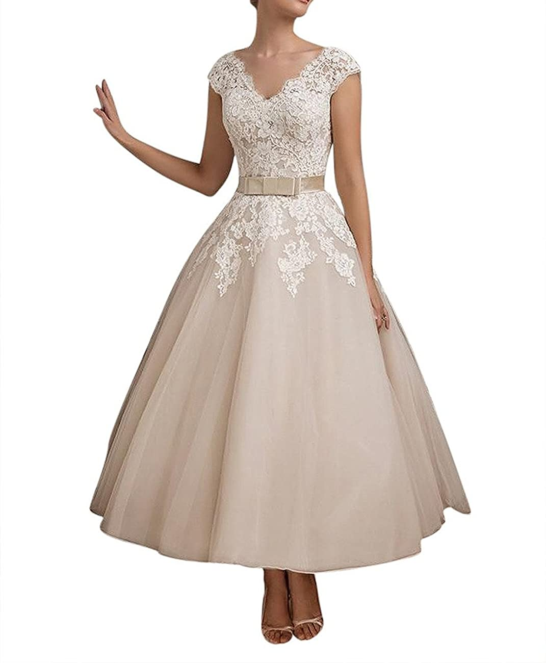 FNKS Women's 1950s Vintage Tea Length Wedding Dresses Lace Prom Dress 0