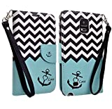 Galaxy Wireless Magnetic Leather Flip Wallet Pouch For Samsung Galaxy Edge, Slim Folio with Kickstand (TEAL ANCHOR WALLET POUCH)