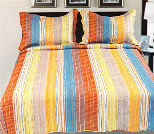 Couture Home Collection Super Fine Luxury Abstract Colorful Design Embroidered Reversible Quilt Set - 100% Cotton Fill - Queen (Queen, Orange/Red) front-100194