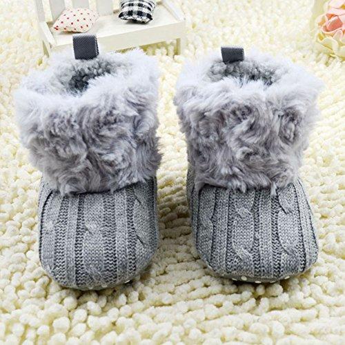 Weixinbuy Baby Girls Knit Soft Fur Winter Warm Snow Boots Crib Shoes (S(0-6 months), Grey)