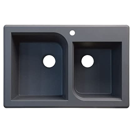 Transolid RTDO3322-17 Radius 22.0625-in W x 33.0625-in L Granite Double Offset Drop-in Kitchen Sink, Grey