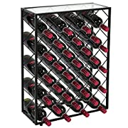 F2C 32 Bottles Wine Rack Holders Stands Liquor Storage Corner Wine Cabinet with Glassy Table Top, Metal Construction, Black