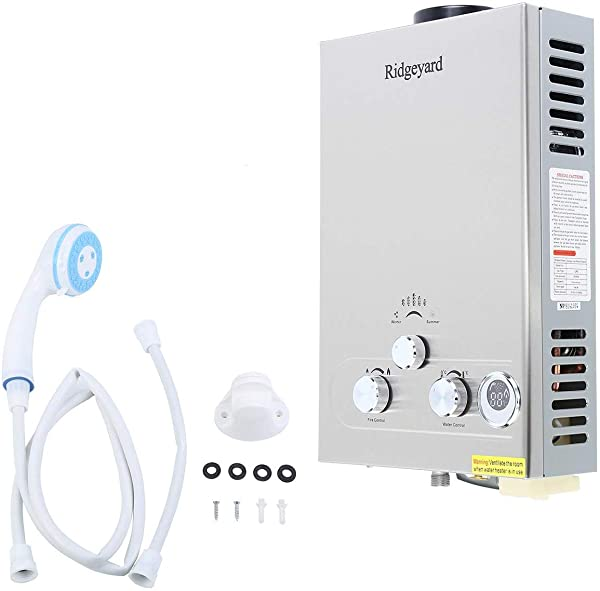 Ridgeyard Propane LPG Gas Tankless Water Heater 8L Hot Water Boiler with Shower Head Kit (8L) (Color: Silver, Tamaño: 8L Propane Gas)