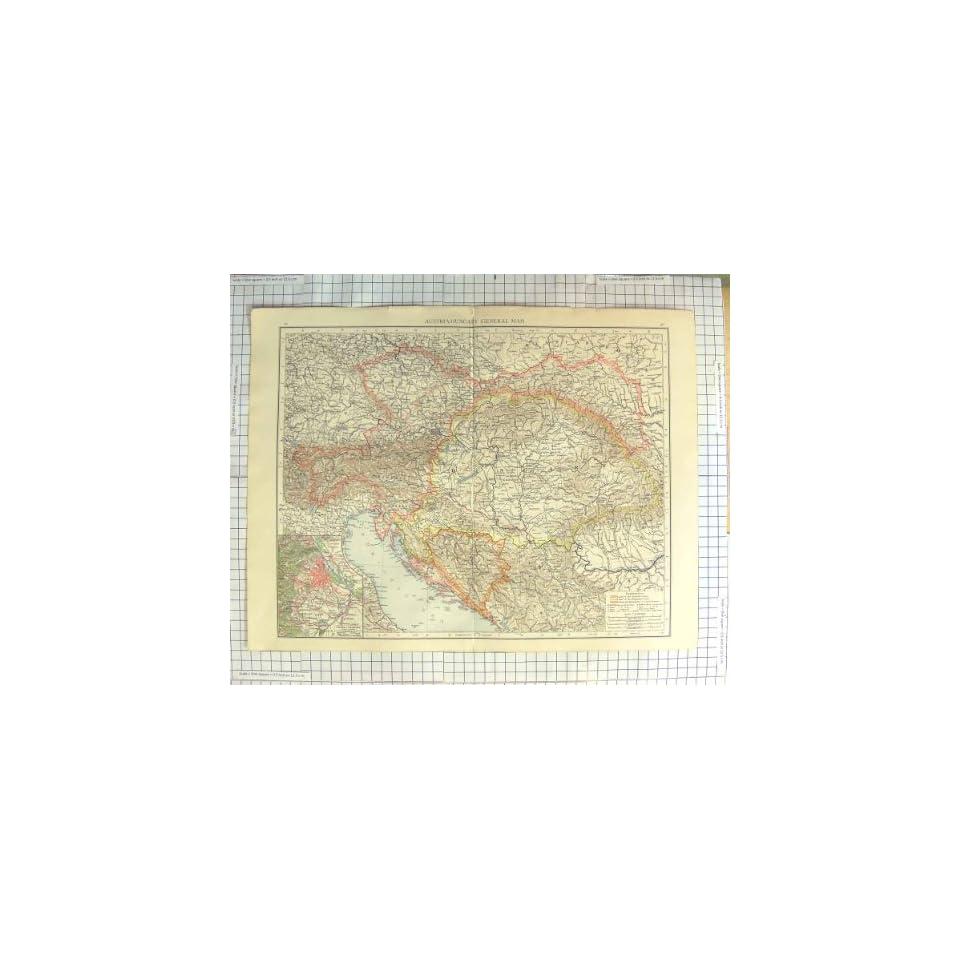 ANTIQUE MAP c1900 AUSTRIA HUNGARY PLAN VIENNA VENICE