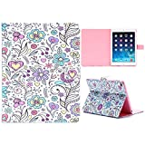 Hearts and Flowers Pretty Elegant Feminine Floral, Heart, Flower Case for Apple iPad Air 1 / 5, 1st and Original Air. Pink, Blue, Purple Multi Coloured Folding Folio Cover and Flip Stand, Smart, Stylish Fashion PU Faux Leather Sleeve, Pink Liner to Prote