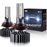 SEALIGHT H11 LED Headlight Bulb Low Beam or Fog Light,Non-Polarity,Upgraded 12xCSP Chips H8/H9 Conversion Kit Halogen Replacement 6000K Xenon White(Pack of 2) (Tamaño: H11/H9/H8)