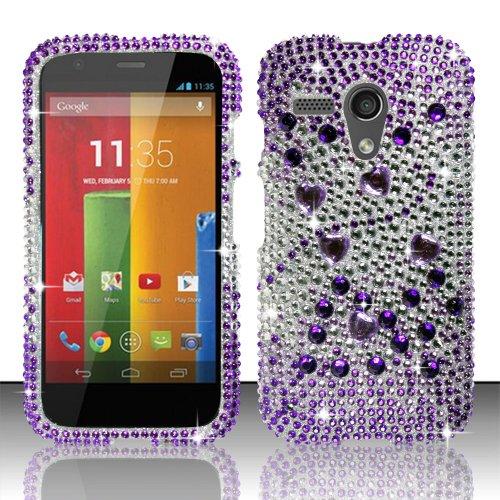 Motorola Moto G Xt1032 Bling Crystal Full Rhinestones Diamond Case Protector - Purple Silver Beats