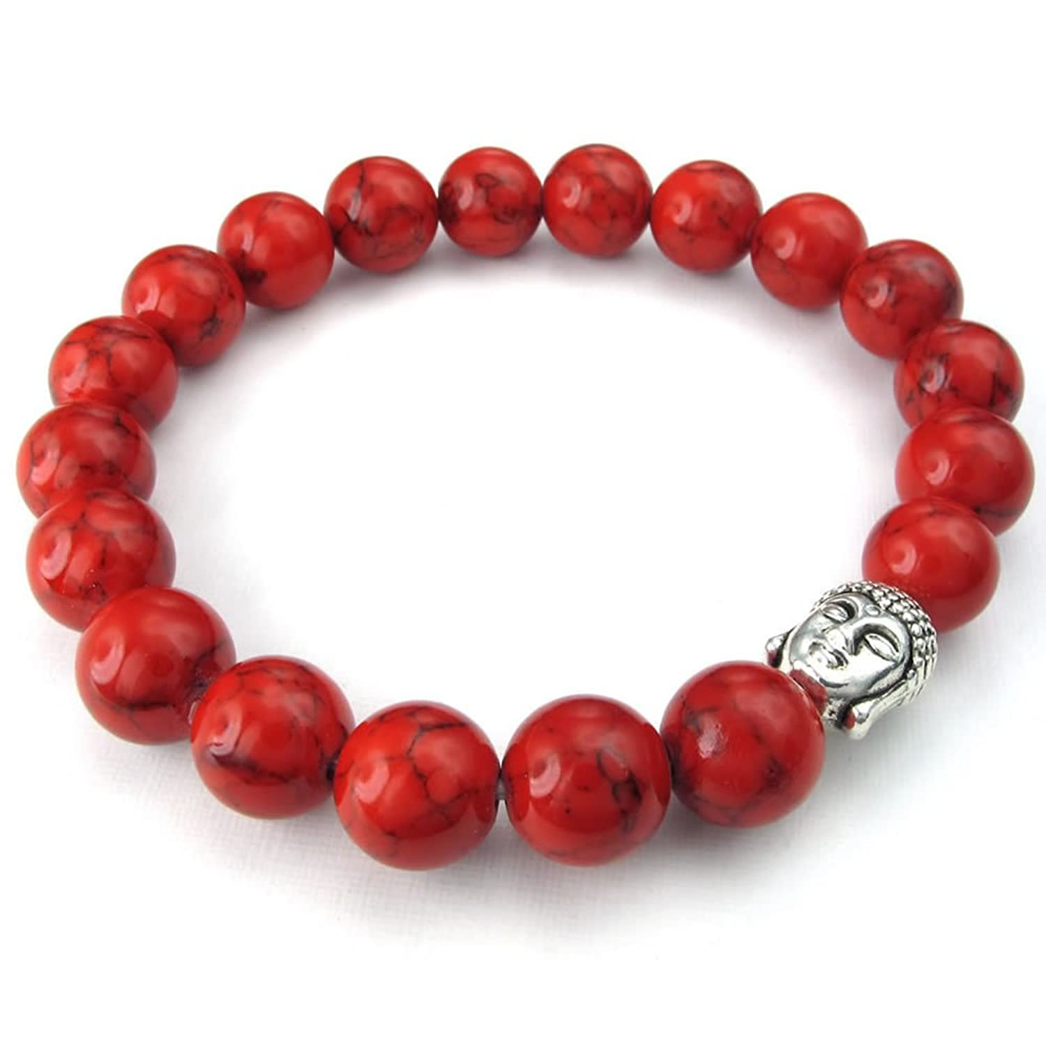 KONOV 10-12mm Natural Energy Stone Beads Gemstone Mens Womens Bracelet, Buddha Mala, Red Silver
