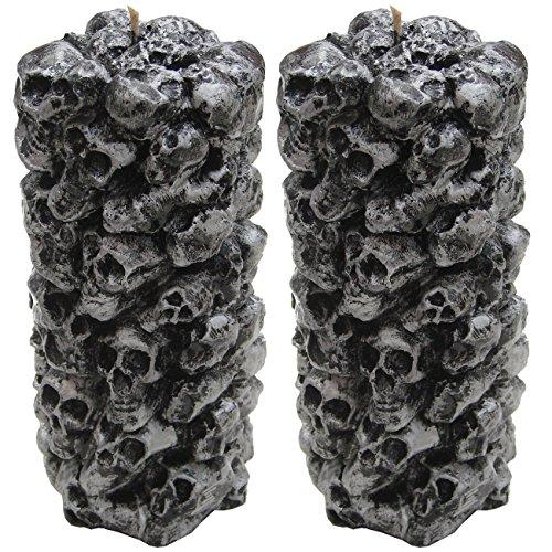 2 große Halloween Kerzen mit Totenköpfen Partykerze Kerze Dekoration