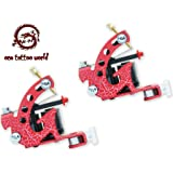 1TattooWorld (2) x Professional Cast Iron 10 Wrap Aluminum Coils Tattoo Machine Liner & Shader, Red , OTW-M218-6 (Color: Red)