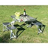 Outdoor Portable Folding Aluminum Picnic Table 4 Seats Chairs Camping w/Case
