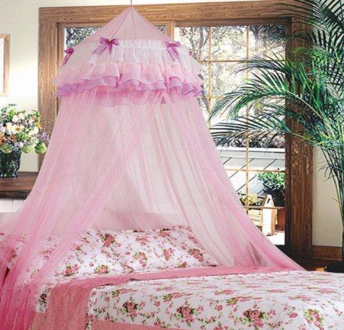 Triple Lace Ruffle Princess Pink Canopy