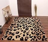 Teppich Hochflor Shaggy Leopard Muster Beige Schwarz, Grösse:160x230 cm