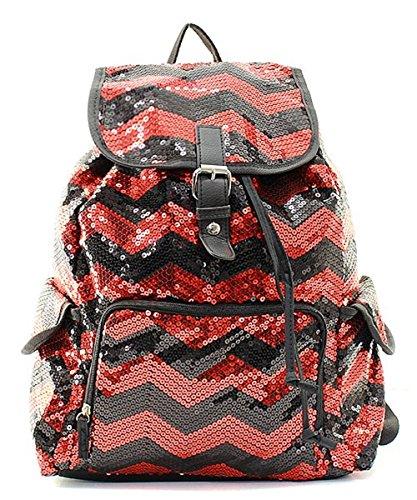 Sequin Chevron Stripe Backpack Handbag (RED & BLACK)