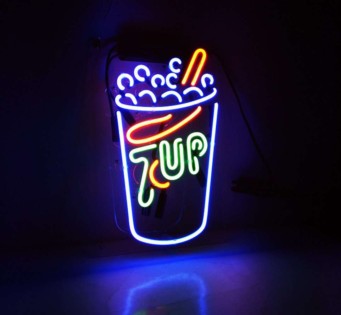 Cool beer neon sign 39 7 up 39 small lamp light wall sign room for Room decor neon signs