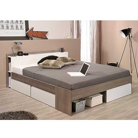 Stauraum Bett in Weiß Eiche Silber Breite 170 cm Liegefläche 160x200 Pharao24