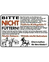 """PST-Schild """"ESEL...Bitte nicht füttern! Tödliche Kolikgefahr...."""" NEU Gr. ca. 30cm x 20cm (308898/029) Spassschild Warnschild Hinweisschild"""