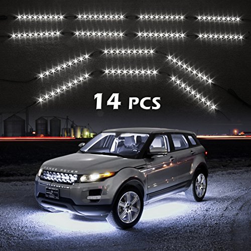 White 14Pcs Three Mode Led Undercar Neon Accent Light Kit Waterproof Ultra Bright + Plug & Play All Accessories Included