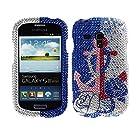 Fincibo (TM) Samsung Galaxy S III mini i8190 Bling Crystal Full Rhinestones Diamond Case Protector - Rose Anchor Blue Waterfall