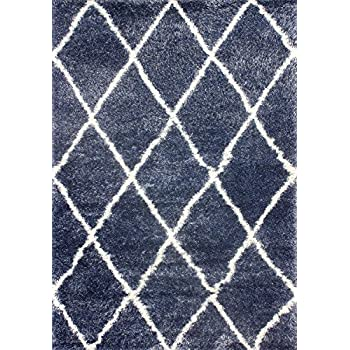 "nuLOOM Machine Made Diamond Shag Rug, 5 3"" x 7 6"", Blue"