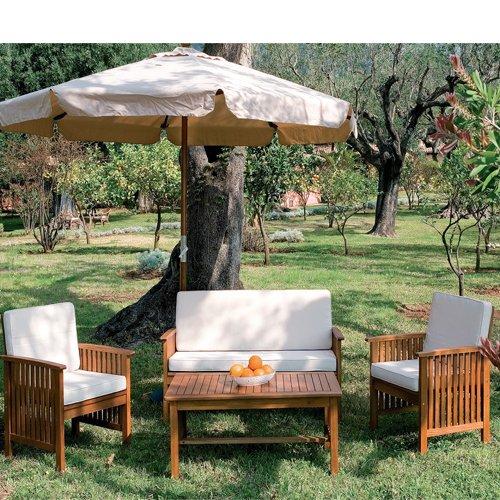 Gartenmöbel aus Holz für Outdoor-Sofa 2 Sessel günstig