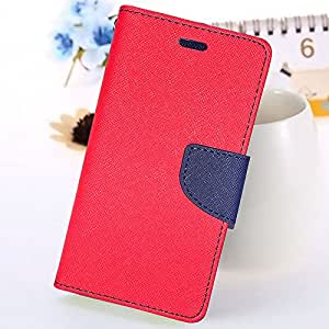 Moblo Flip cover( Red Blue ) With Free Tempered Glass For Sony xperia C