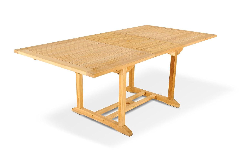 XXS® Möbel Gartentisch Caracas hochwertiges Teak Holz Tisch ausziehbar Schirmloch in der Mitte natürliche Maserung pflegeleicht Lager Speditionsversand günstig kaufen