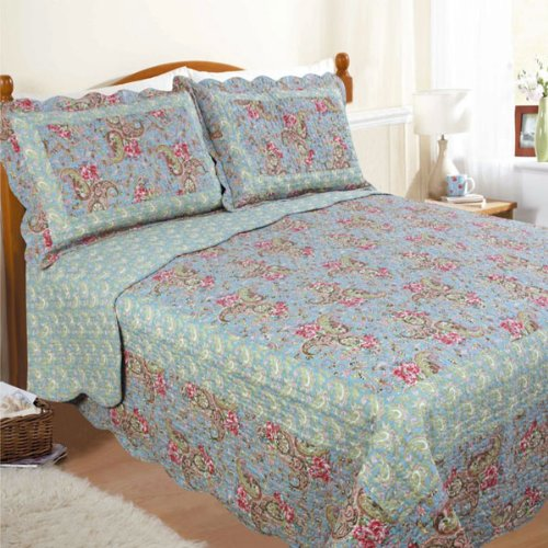 Restmor Paisley Scalloped Quilted Bedspread, Green/Blue, King