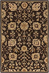 Brown Rug Classic Design 3-Foot 6-Inch Round Hand-Made Traditional Wool Carpet